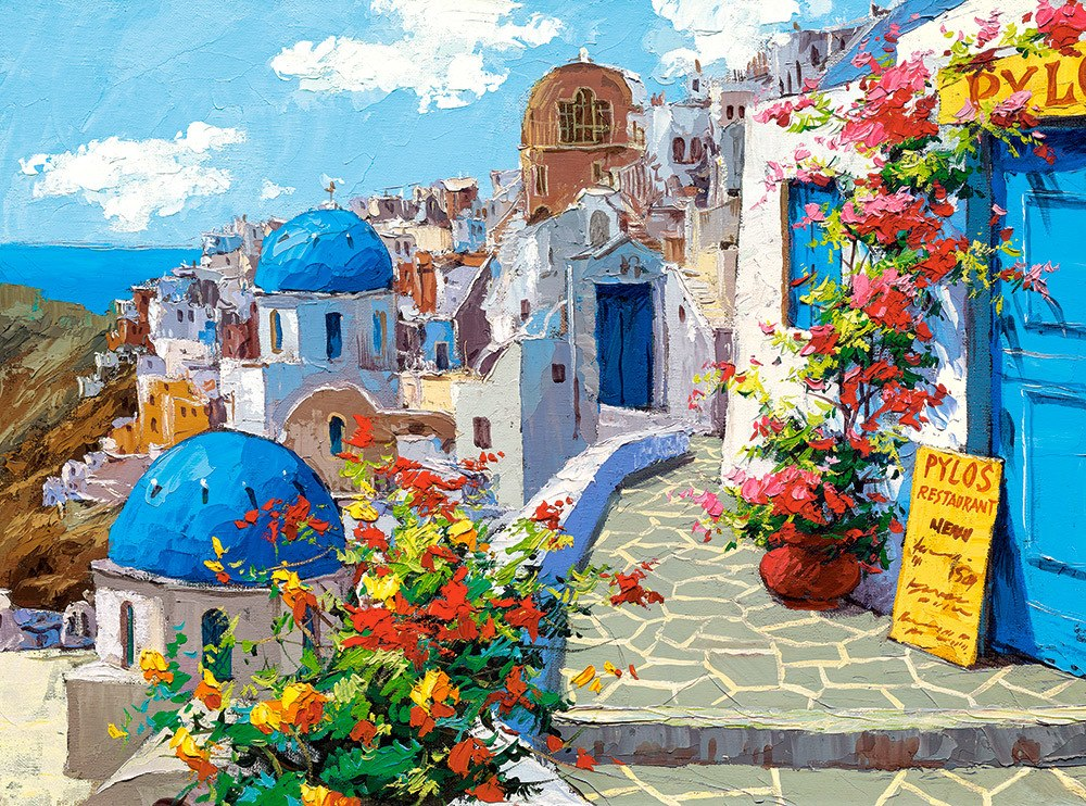 Spring in Santorini - 2000pc By Castorland