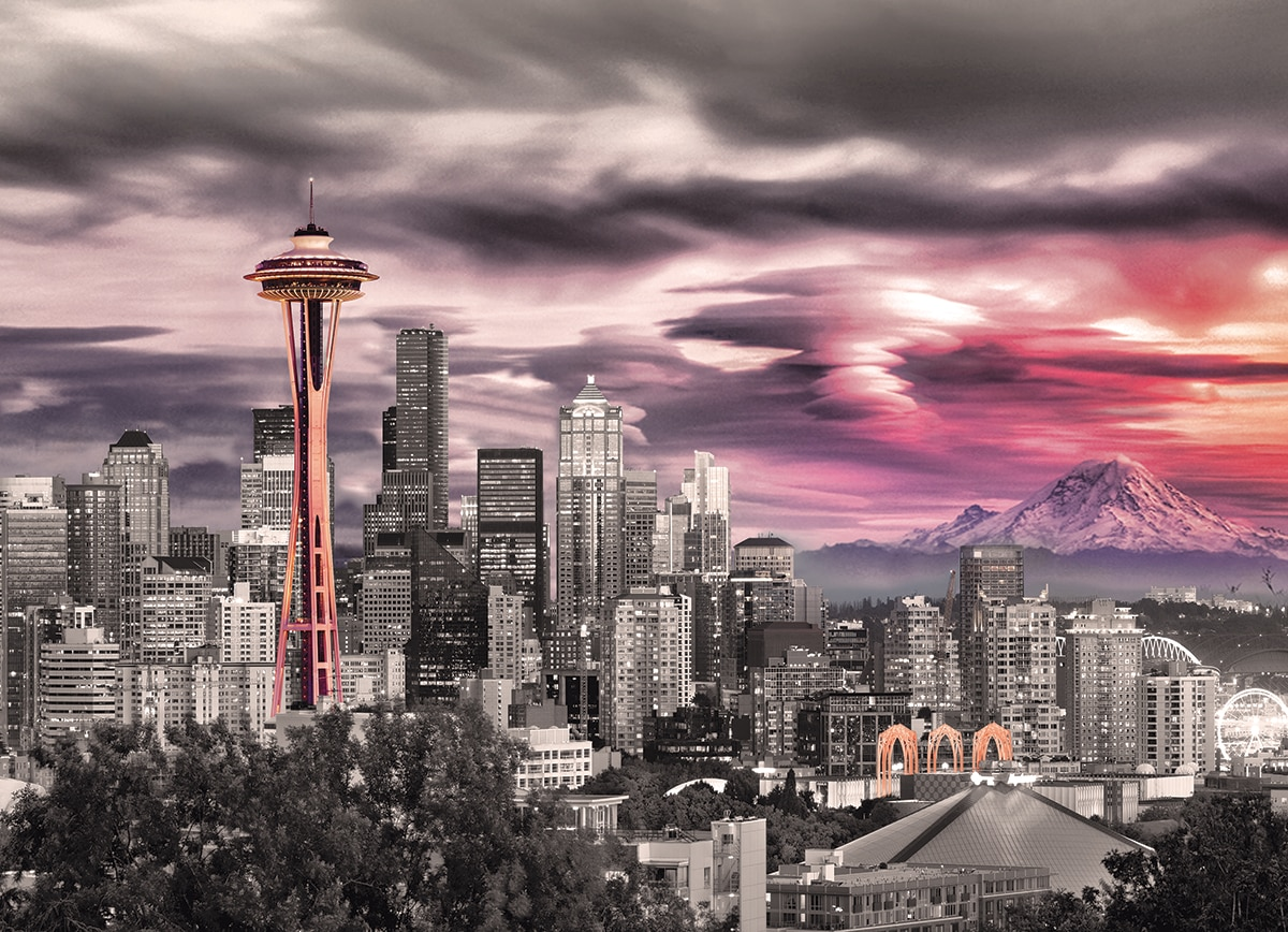 Seattle: City Skyline - 1000pc Jigsaw Puzzle by Eurographics - image main