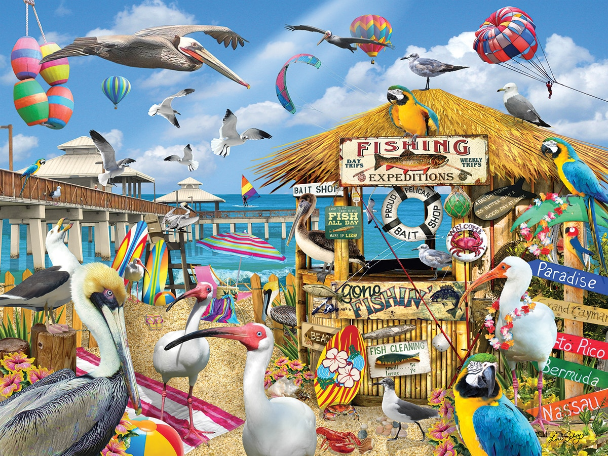 Pelican Paradise - 1000pc Jigsaw Puzzle By White Mountain