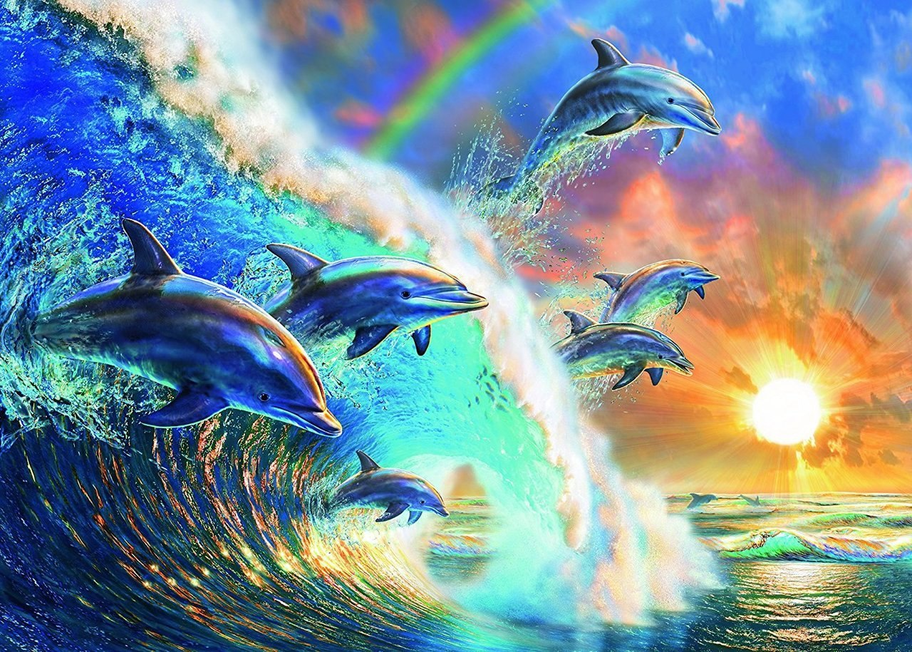 Dancing Dolphins - 1000pc Jigsaw Puzzle by Ravensburger  			  					NEW