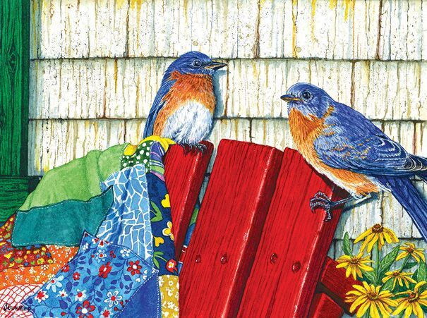 Red Sled and Bluebirds - 500pc Jigsaw Puzzle by Sunsout  			  					NEW
