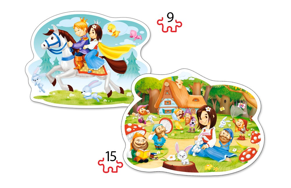 Snow White and the Seven Dwarfs - 2 x 15pc Jigsaw Puzzle By Castorland