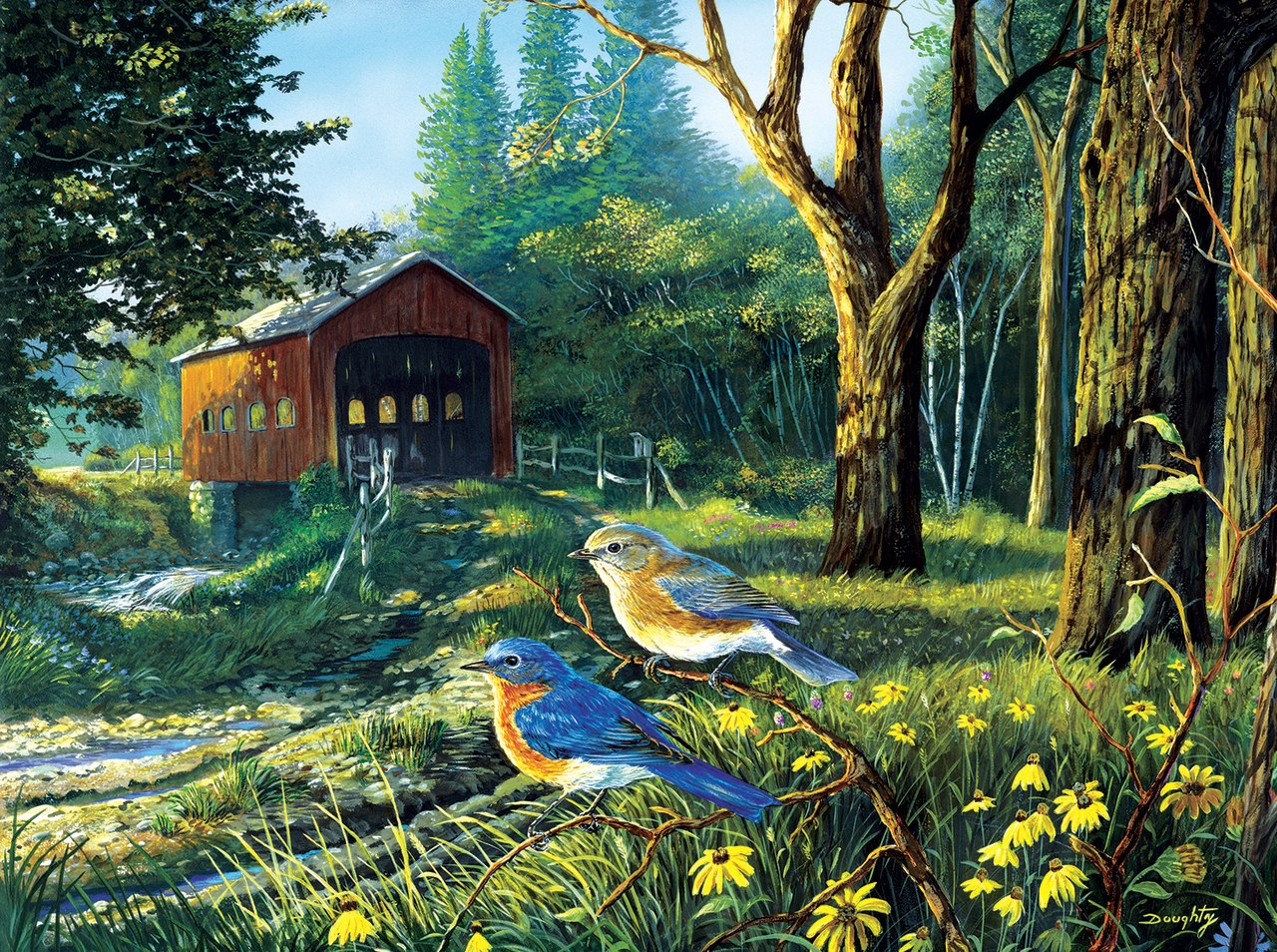 Sleepy Hollow Blue Birds - 1000pc Jigsaw Puzzle By Sunsout  			  					NEW