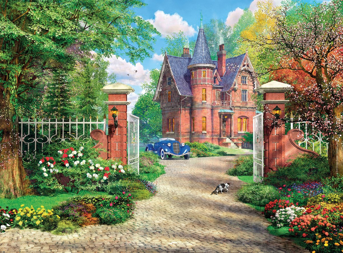 The Red Brick Cottage - 500pc Jigsaw Puzzle by Clementoni