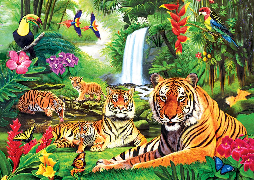 Tiger Paradise - 1000pc Jigsaw Puzzle by Lafayette Puzzle Factory