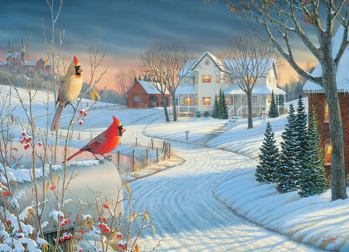 Country Cardinals by Sam Timm - 1000pc Jigsaw Puzzle by Eurographics
