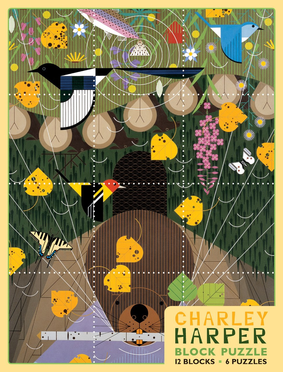 Charley Harper - 12pc Block by Pomegranate  			  					NEW