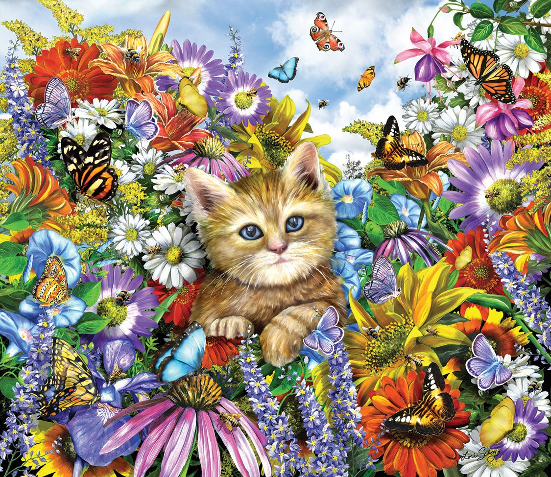 Kitty in the Garden - 200pc Jigsaw Puzzle by SunsOut