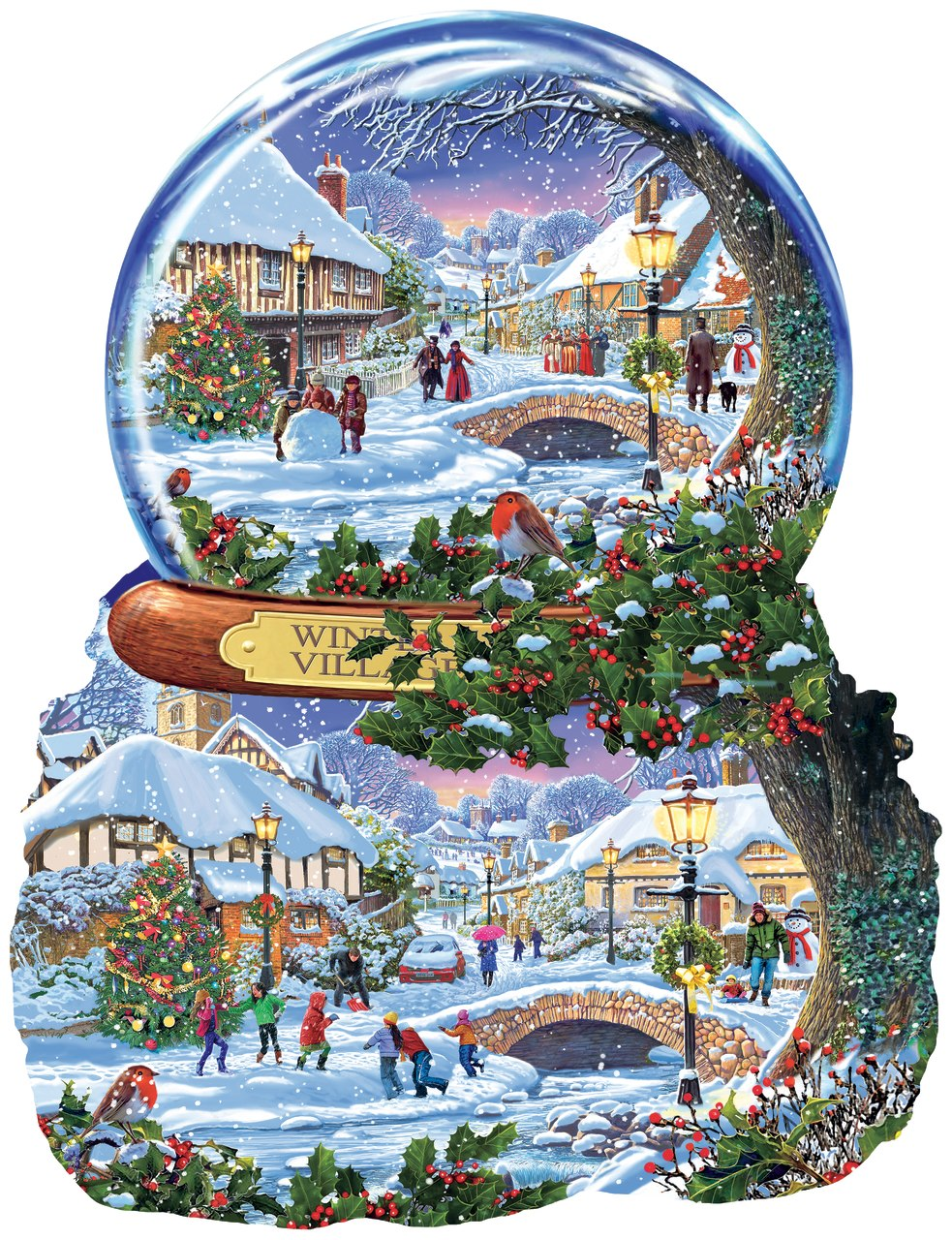 Winter Village - 1000pc Shaped Jigsaw Puzzle By Sunsout  			  					NEW