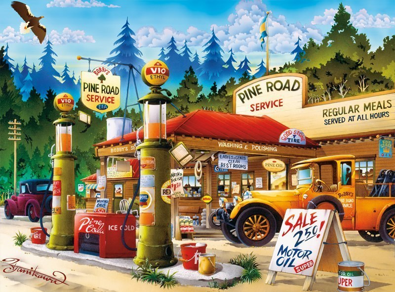 Cartoon World: Pine Road Service - 1000pc Jigsaw Puzzle by Buffalo Games