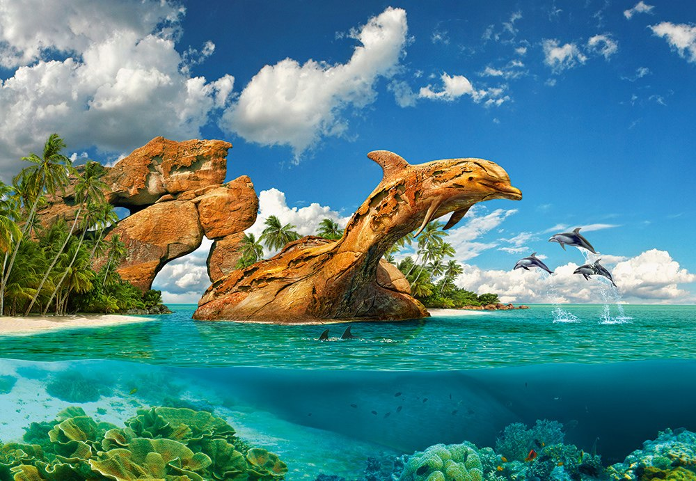 Dolphin Paradise - 1000pc Jigsaw Puzzle By Castorland