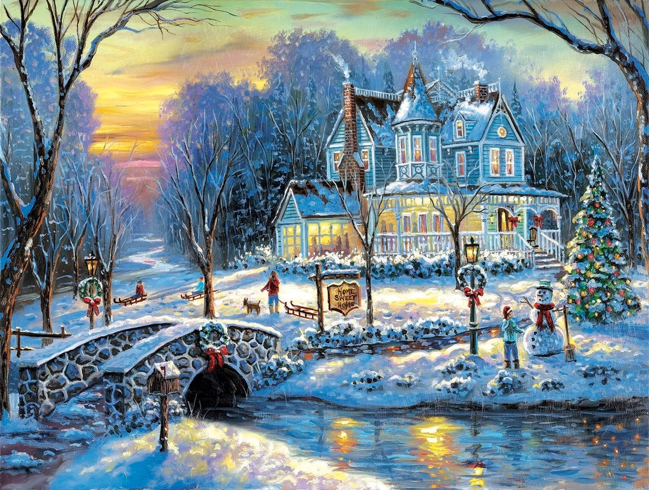 A White Christmas - 1000pc Jigsaw Puzzle by Sunsout  			  					NEW