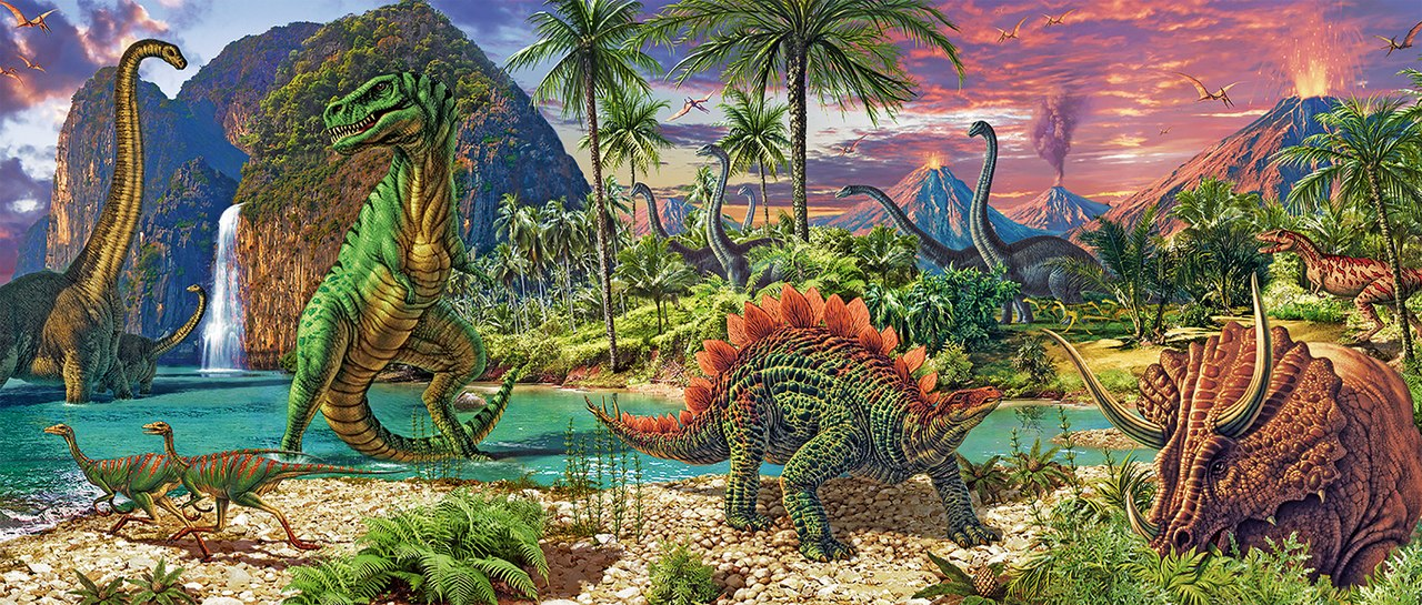 In the Land of the Dinosaurs - 200pc Panoramic Jigsaw Puzzle by Ravensburger  			  					NEW