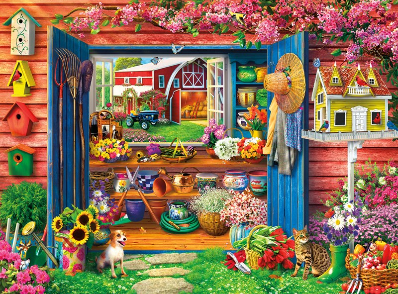 Farm Flower Shed - 1000pc Jigsaw Puzzle by Buffalo Games  			  					NEW