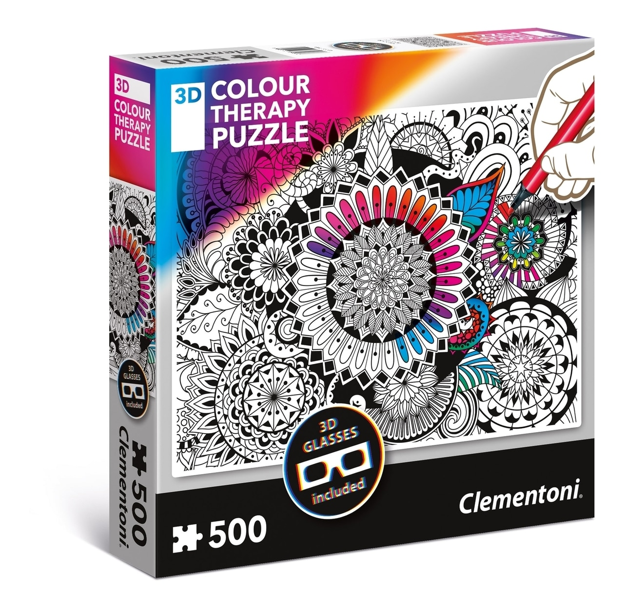 3D Color Therapy: Flowers - 500 pc Jigsaw Puzzle by Clementoni  			  					NEW - image main