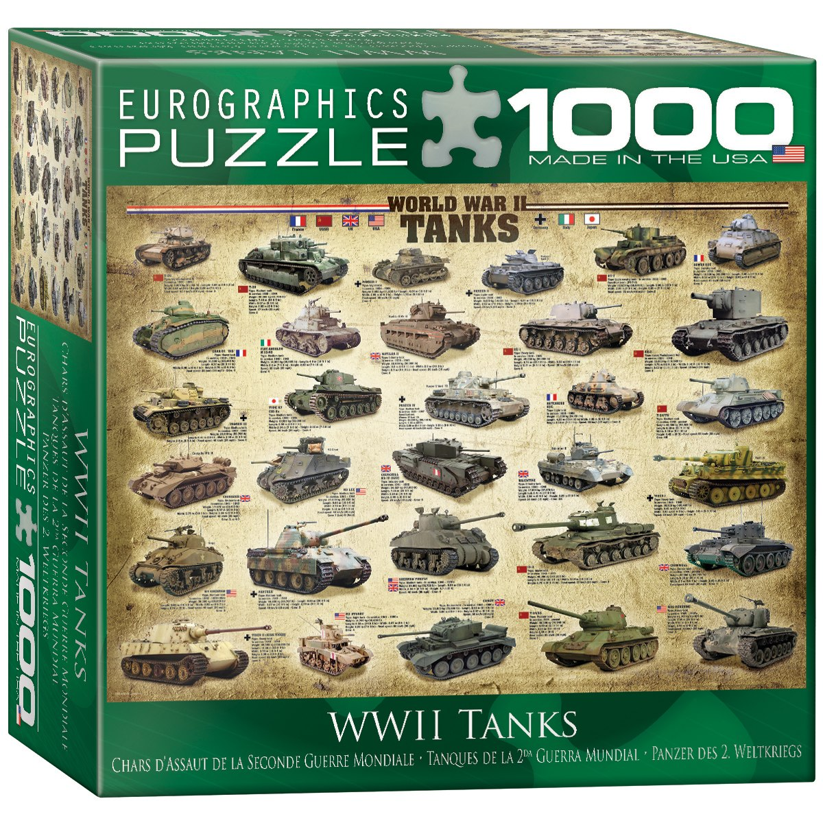 Tanks of WWII (Small Box) - 1000pc Jigsaw Puzzle by Eurographics