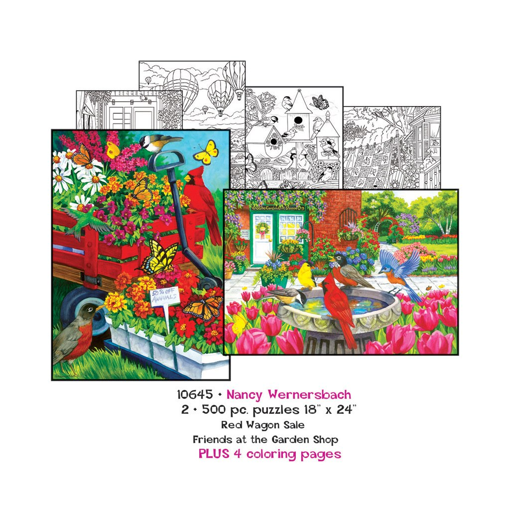 Nancy Wernersbach: Coloring Pages and 2 x 500pc Jigsaw Puzzle Set by Sunsout