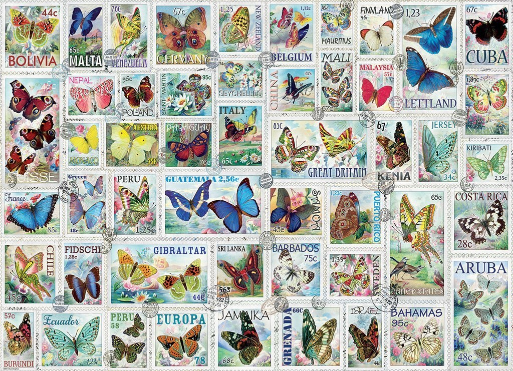 Vintage Stamps: Butterflies - 500pc Jigsaw Puzzle by Eurographics  			  					NEW