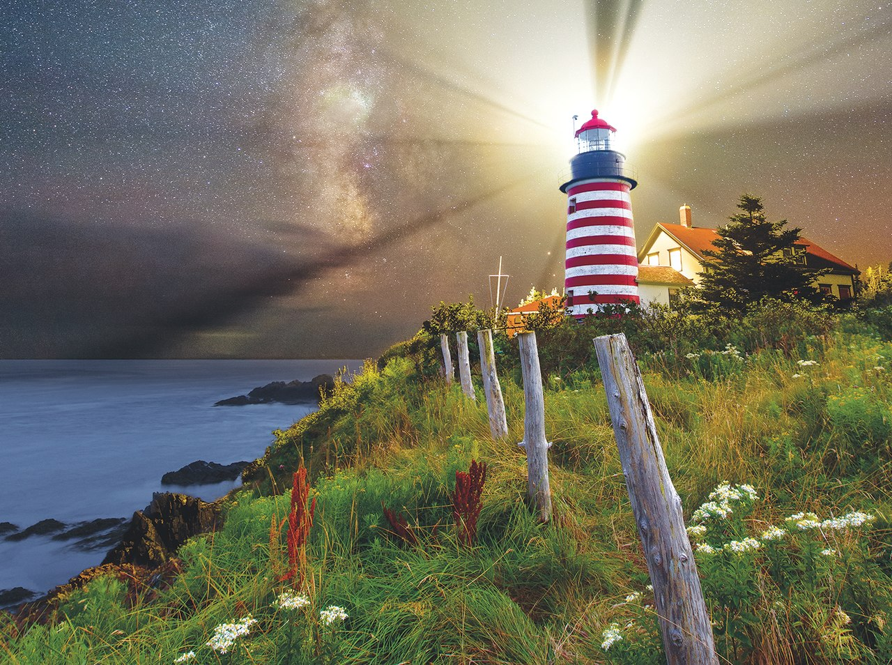 Night over West Quoddy Lighthouse - 1000pc Jigsaw Puzzle By Sunsout  			  					NEW