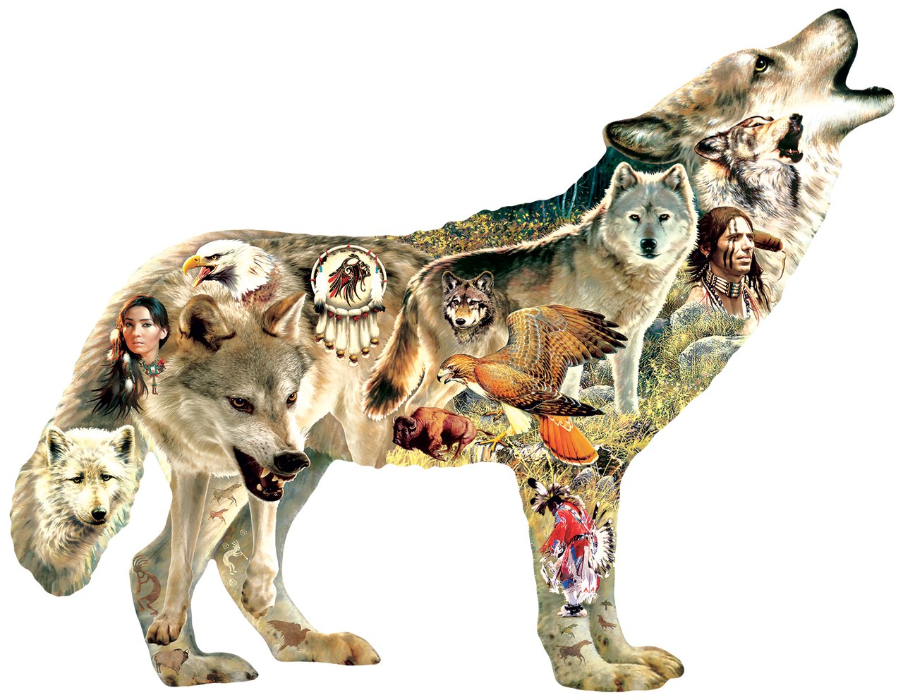 Native American Wolf - 750pc Shaped Jigsaw Puzzle by Sunsout  			  					NEW