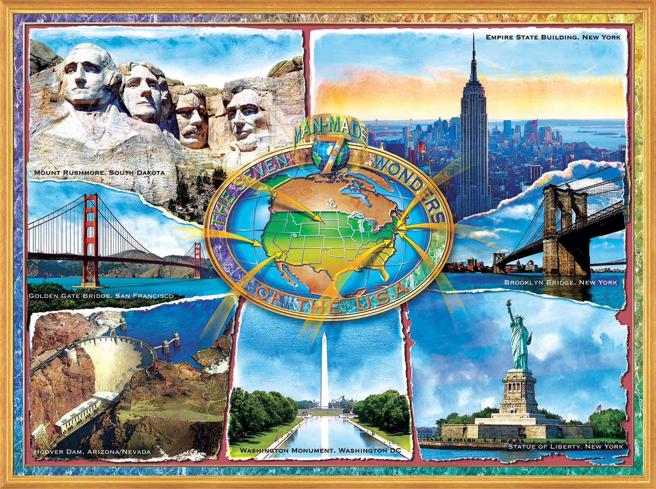 The 7 Manmade Wonders of the U.S.A. - 1000pc Jigsaw Puzzle By Sunsout  			  					NEW