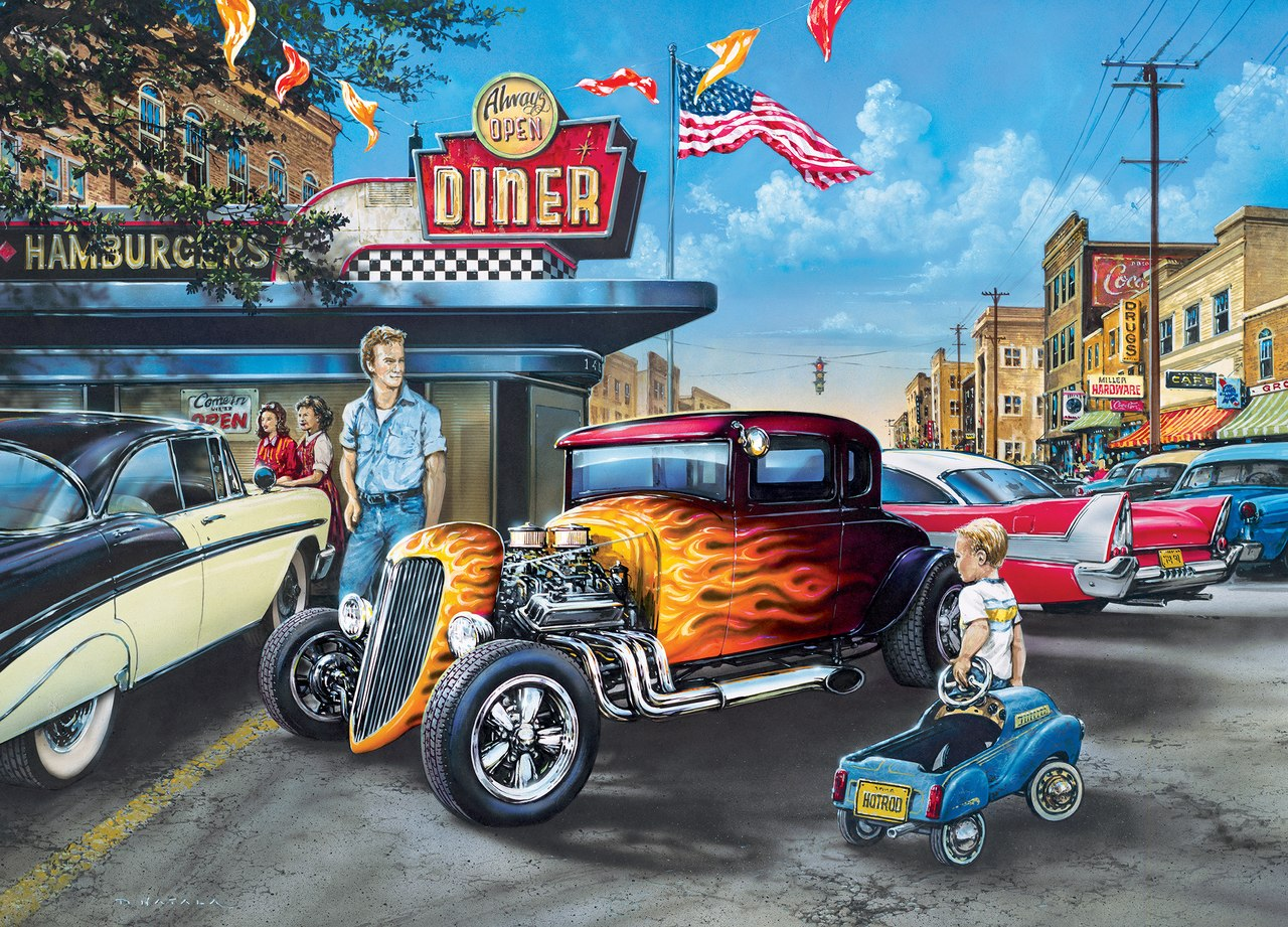 Hot Rods and Milkshakes - 1000pc Jigsaw Puzzle by Masterpieces  			  					NEW