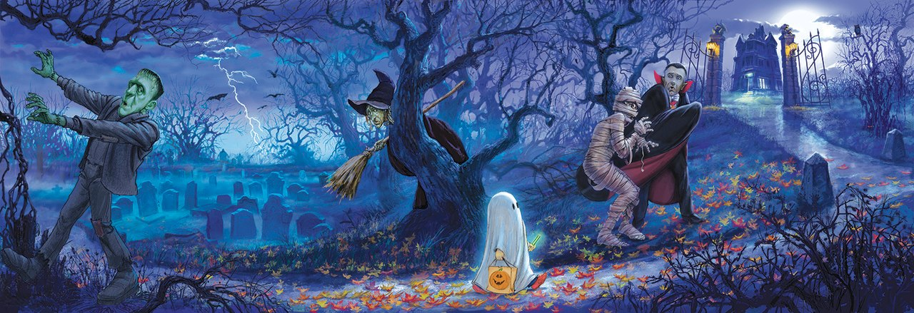 Halloween Scene - 500pc Jigsaw Puzzle by Sunsout  			  					NEW