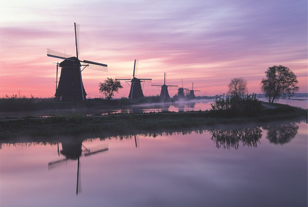 Windmill, Netherlands - 1000pc Glow-in-the-Dark Jigsaw Puzzle by Tomax