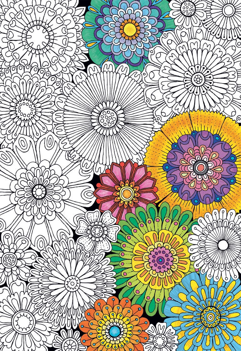 Big Beautiful Blossoms - 300pc Coloring Jigsaw Puzzle by Educa