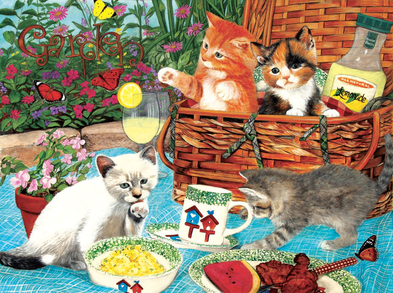 Picnic Kittens - 1000pc Jigsaw Puzzle By Sunsout  			  					NEW