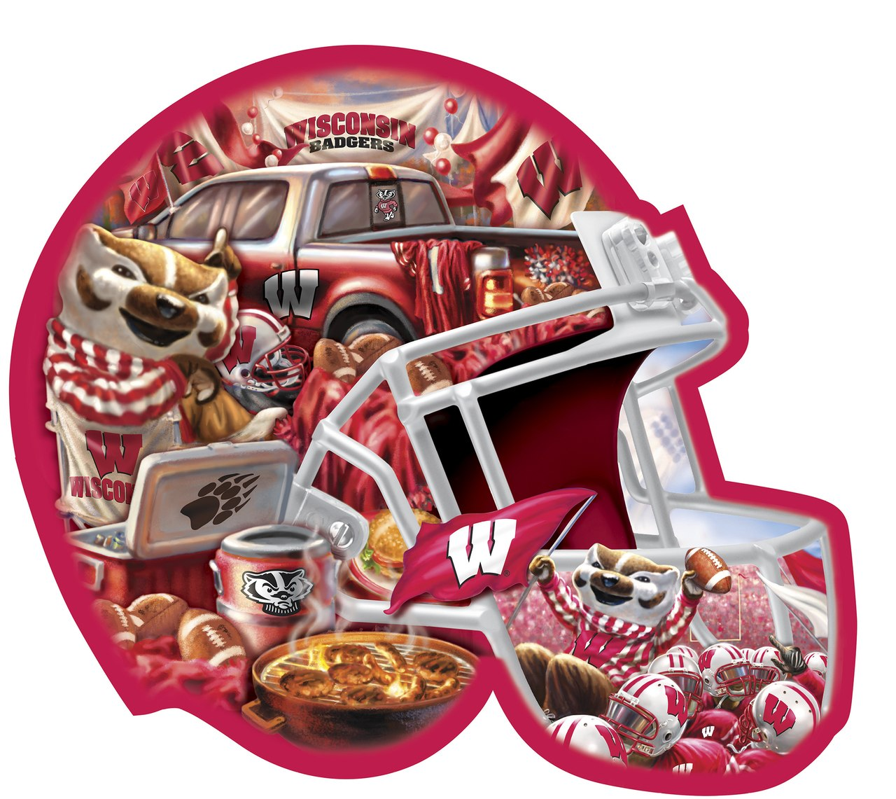 Wisconsin Helmet - 500pc Shaped Jigsaw Puzzle by Masterpieces  			  					NEW