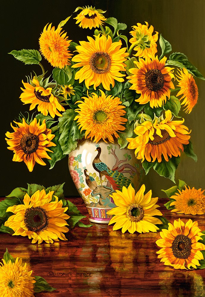 Sunflowers in a Peacock Vase - 1000pc Jigsaw Puzzle By Castorland  			  					NEW
