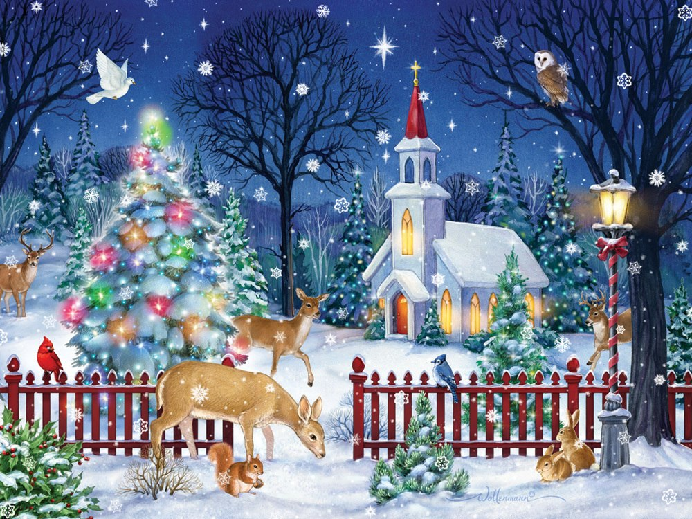 Peaceful Night - 550pc Jigsaw Puzzle by Vermont Christmas Company  			  					NEW