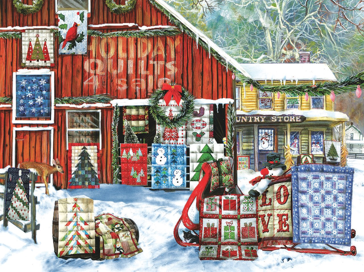 Holiday Quilts - 1000pc Jigsaw Puzzle by Sunsout  			  					NEW