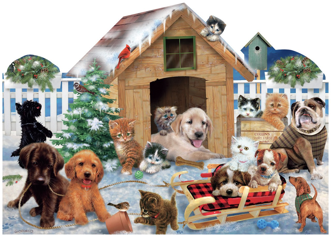 Playing in the Snow - 900pc Shaped Jigsaw Puzzle By Sunsout  			  					NEW