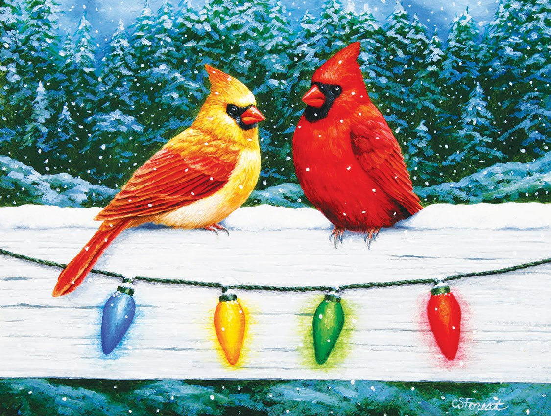 Christmas Cardinal Greeting - 300pc Large Format Jigsaw Puzzle by SunsOut