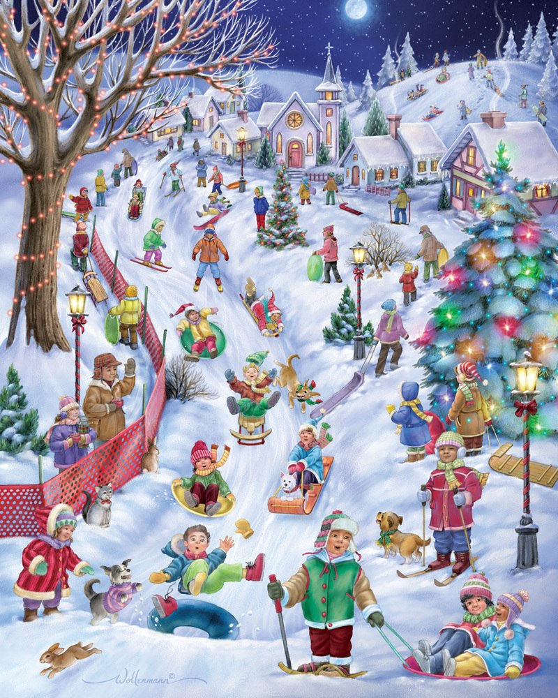 Sledding Hill - 1000pc Jigsaw Puzzle by Vermont Christmas Company