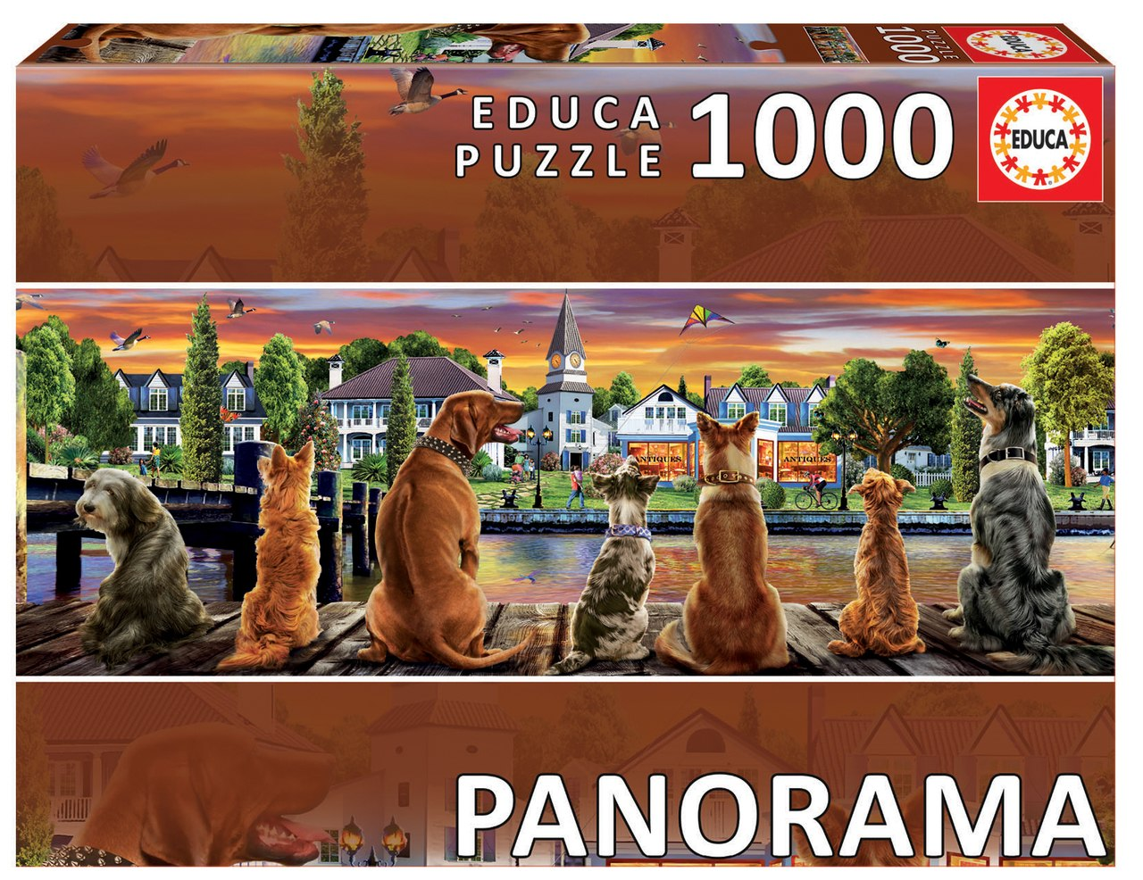 Dogs on the Quay - 1000pc Panoramic Jigsaw Puzzle by Educa  			  					NEW - image 1