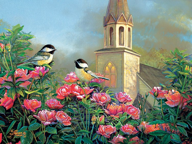 Wedding Bell Chickadees - 500pc Jigsaw Puzzle by Sunsout  			  					NEW - image main