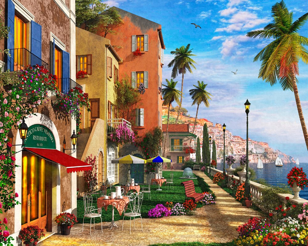 Mediterranean Terrace - 1000pc Jigsaw Puzzle by Vermont Christmas Company