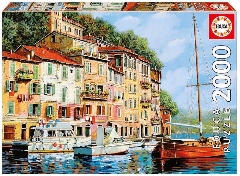Guido Borelli: La Barca Rossa Alla Calata - 2000pc Jigsaw Puzzle By Educa  			  					NEW