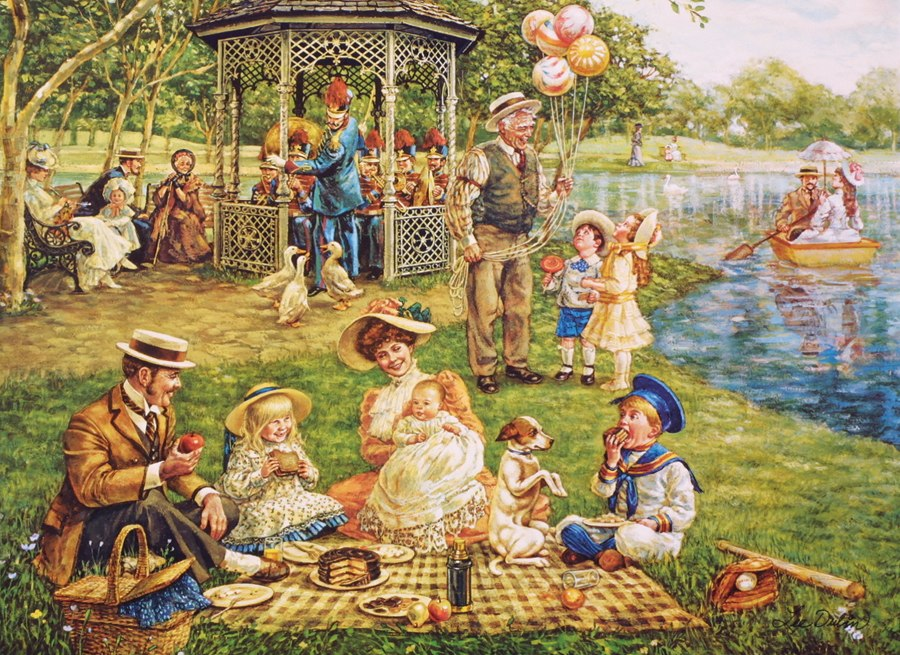 Family Picnic - 1000pc Jigsaw Puzzle By Cobble Hill - image main