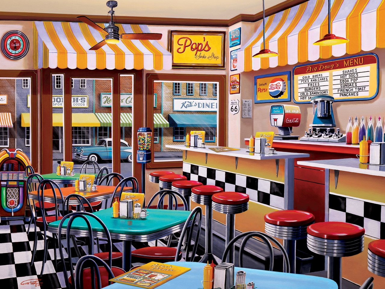 Pop's Soda Fountain - 750pc Jigsaw Puzzle by Masterpieces  			  					NEW