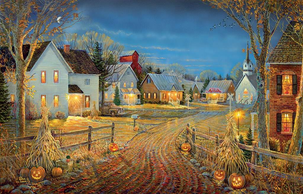 A Country Town in Autumn - 550pc Jigsaw Puzzle by SunsOut
