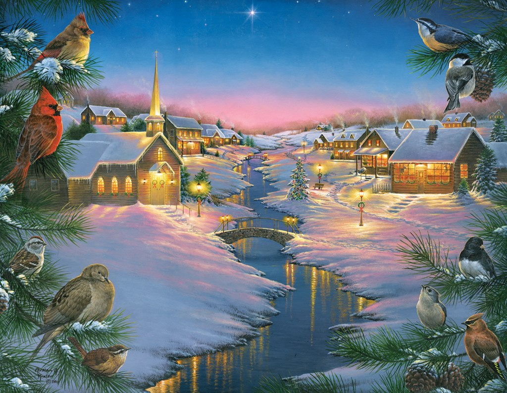 A Winter's Silent Night - 1000pc Large Format Jigsaw Puzzle By Sunsout