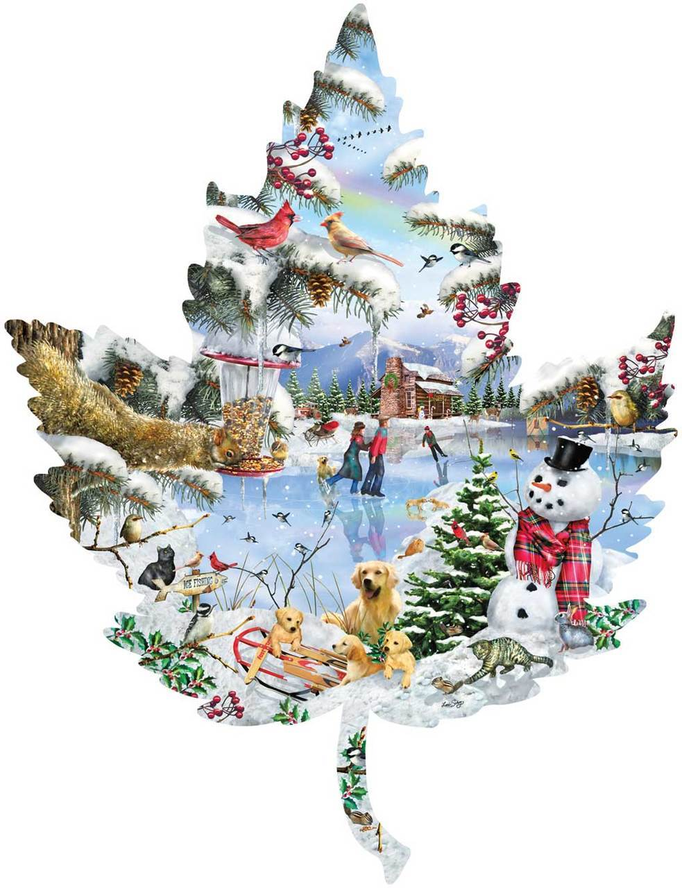 Winter on the Lake - 1000pc Shaped Jigsaw Puzzle By Sunsout
