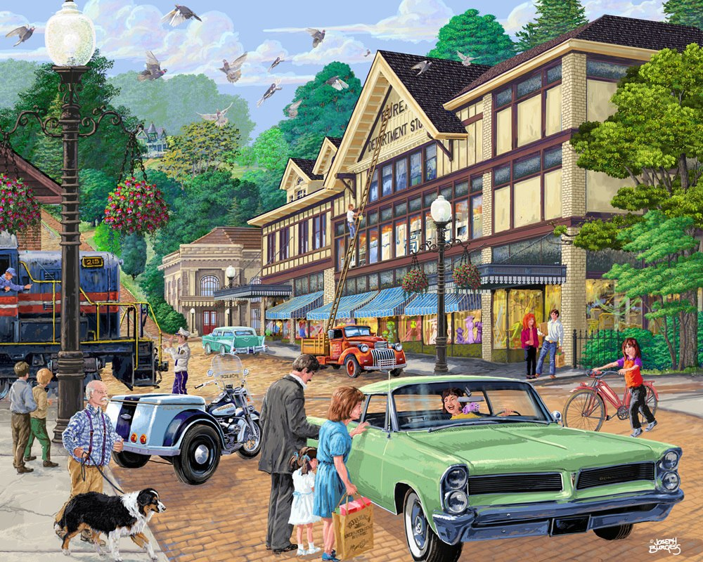 A Trip to Town - 1000pc Jigsaw Puzzle by Vermont Christmas Company
