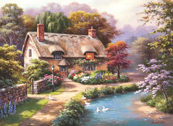 Duck Path Cottage - 1000pc Jigsaw Puzzle by Anatolian  			  					NEW
