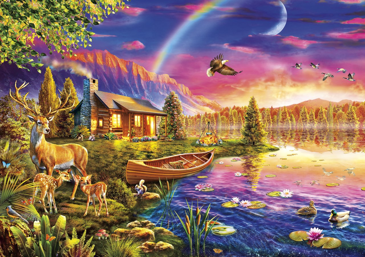 Lakeside Cabin - 300pc Large Format Jigsaw Puzzle By Buffalo Games