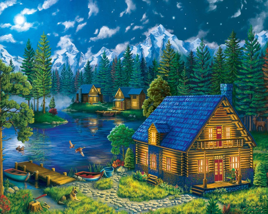 Forest Cabin - 1000pc Jigsaw Puzzle by Vermont Christmas Company  			  					NEW - image main